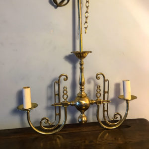 twin arm chandelier