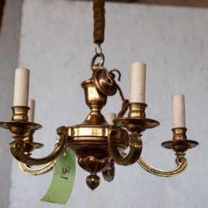 brass 5 arm georgian chandelier