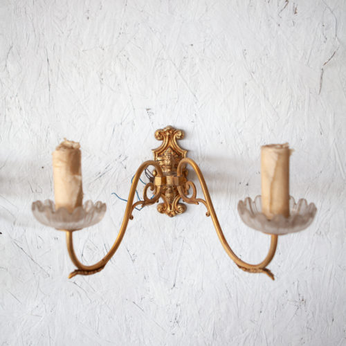 1920's cast brass wall sconce