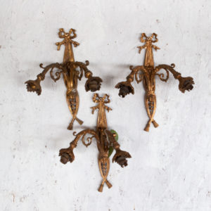 set of 3 antique wall sconces