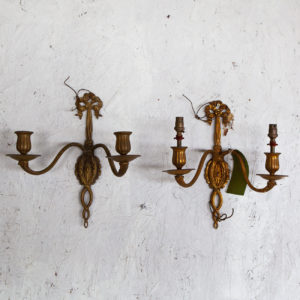 pair 2 arm wall sconces 1930
